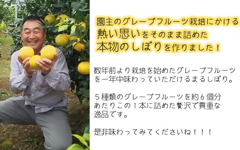 園主のグレープフルーツ栽培にかける熱い思いをそのまま詰めた本物の果汁しぼりを作りました。